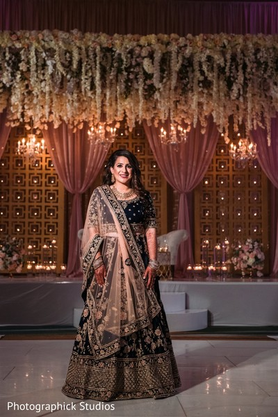 Maharani on her golden and black lehenga.