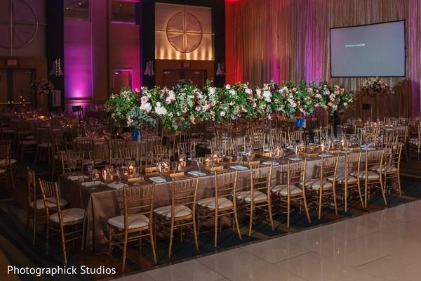 Indian wedding rectangle table centerpiece decoration.