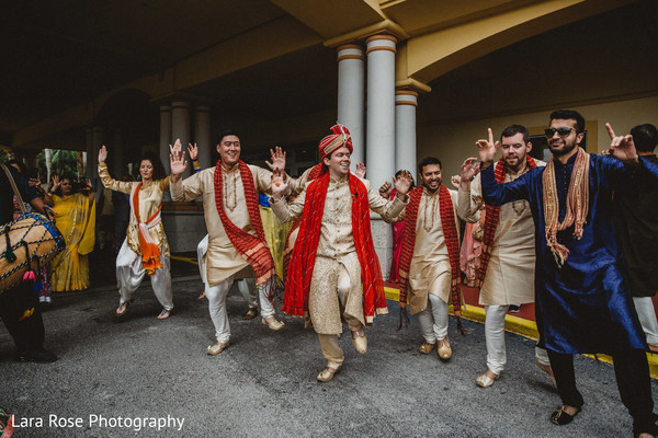 Indian groom during baraat