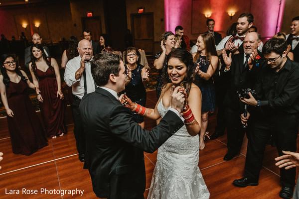 Indain bride and groom's reception dance.