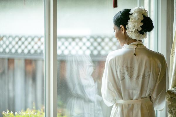 Indian bridal wedding white silk robe.
