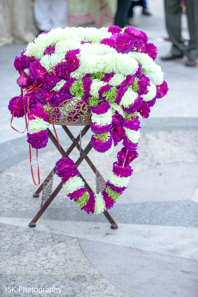 White and magenta with green colors jaimala.