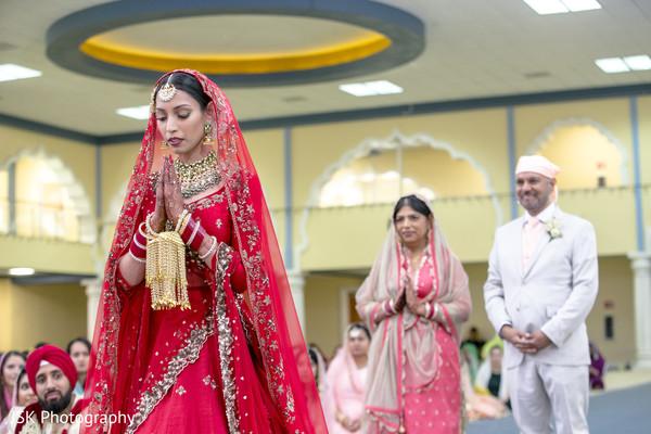 Indian bride at her wedding ceremony .