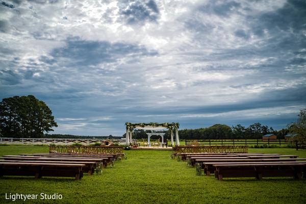 Enchanting decor for outdoor wedding ceremony