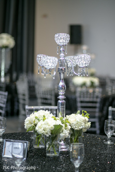 Silver Indian wedding table chandelier.