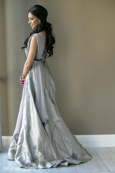 Indian bridal silk gray wedding reception dress.