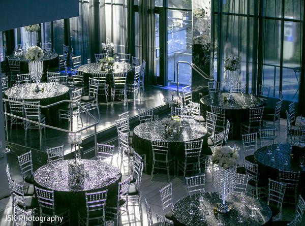 Black and crystal indian wedding reception decoration.
