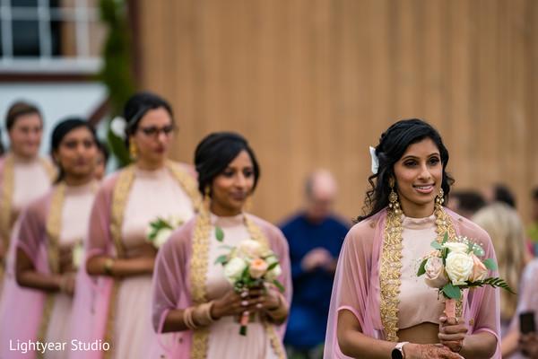 Indian bridesmaid and groomsman entrance
