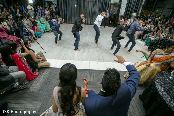 Indian groomsmen at reception choreography.
