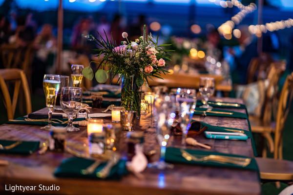 Rustic reception table decoration.
