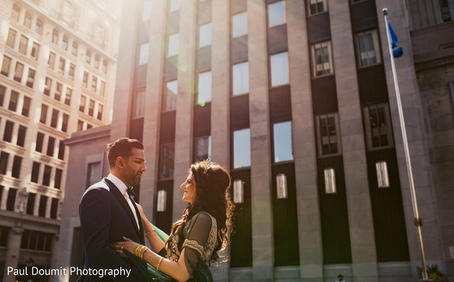 Perfect capture of Indian bride and groom surrounded by city buildings