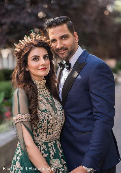 Enchanting Indian couple posing during outdoor photoshoot