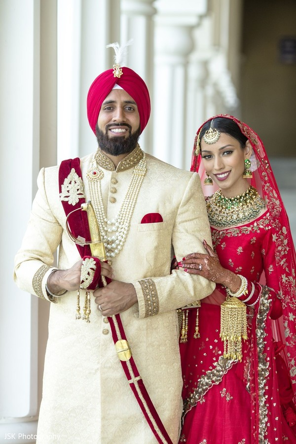 Indian bride and groom in their wedding ceremony outfits.