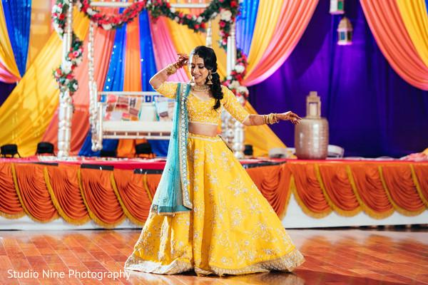 Maharani at sangeet stage dancing.
