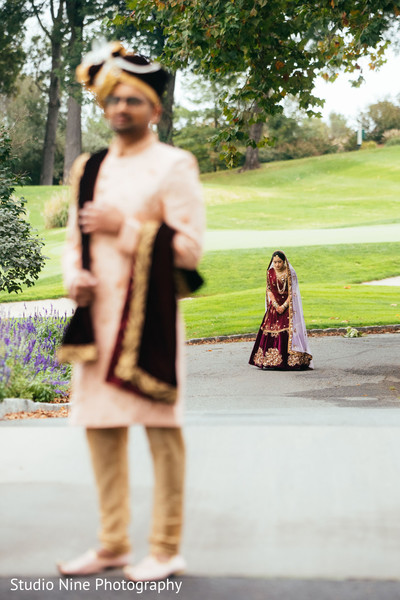 Indian bride about to meet her groom.