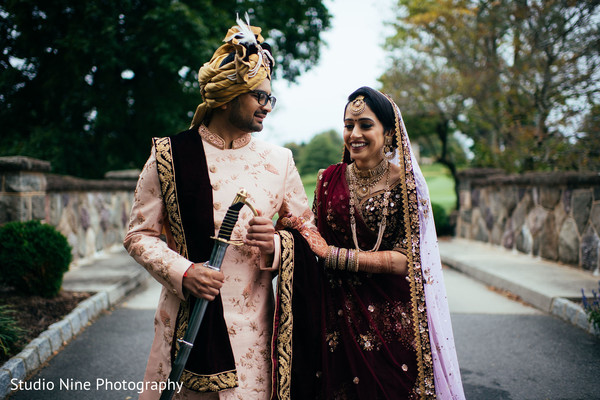 Indian bride and groom side by side photo session.