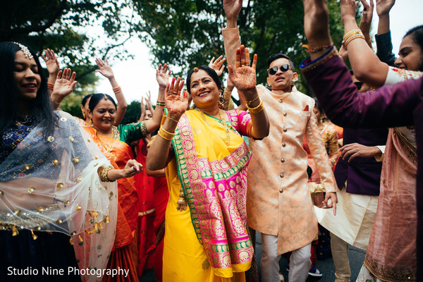 Indian wedding baraat procession capture.