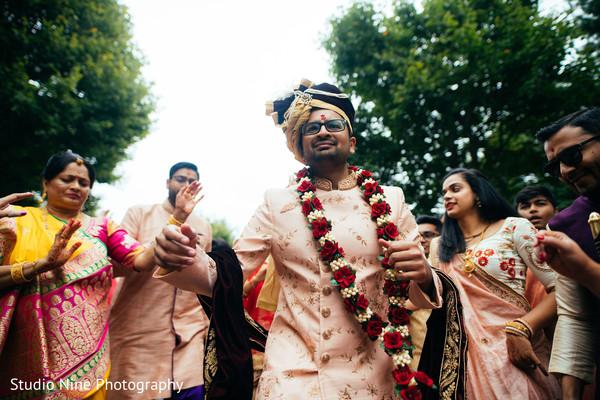 Indian groom at his baraat celebration.