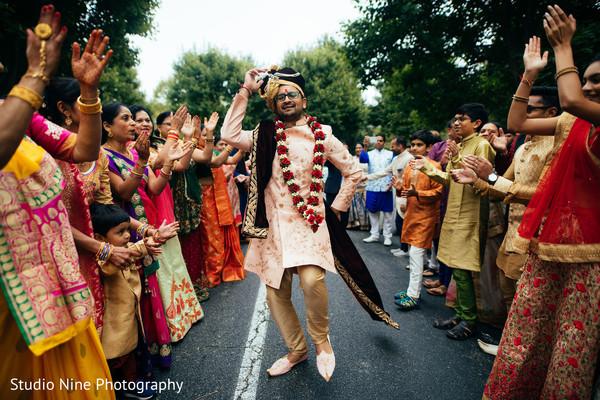 Raja at baraat procession dance.