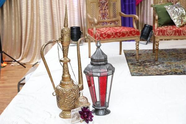 Red and silver sangeet lanter stage decoration.