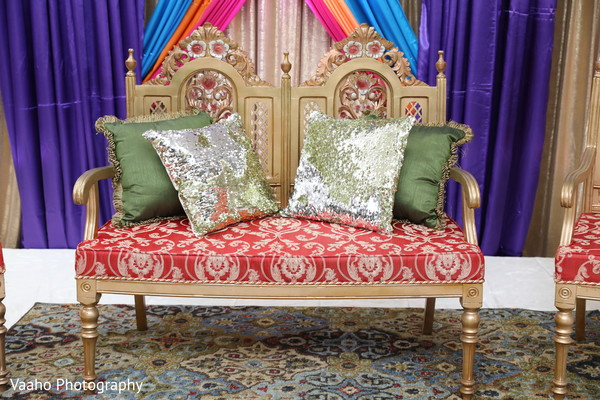 Sangeet silver and green seat pillows.