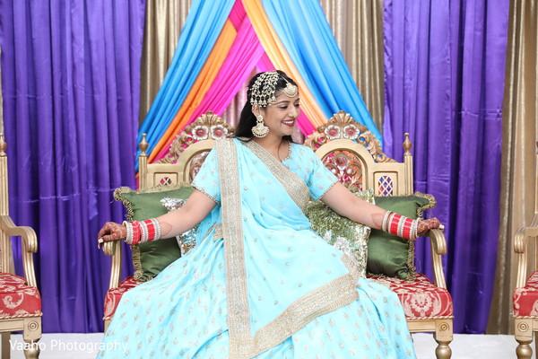 Indian bride at sangeet stage capture.