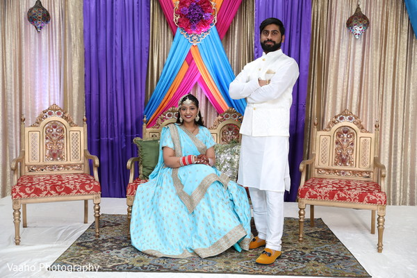 Raja with Maharani in their sangeet outfits.