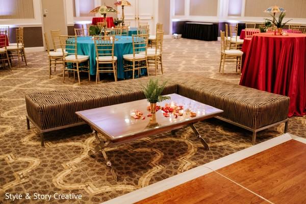 Indian sangeet  pre-wedding seat and table setup.