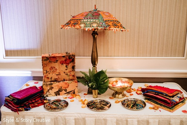 Indian Sangeet favors table decoration.