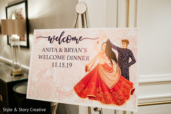 Colorful indian pre-wedding welcome dinner sign.