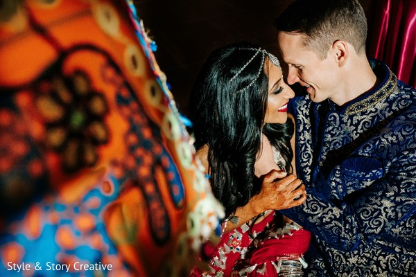 Indian couple at sangeet photo session.