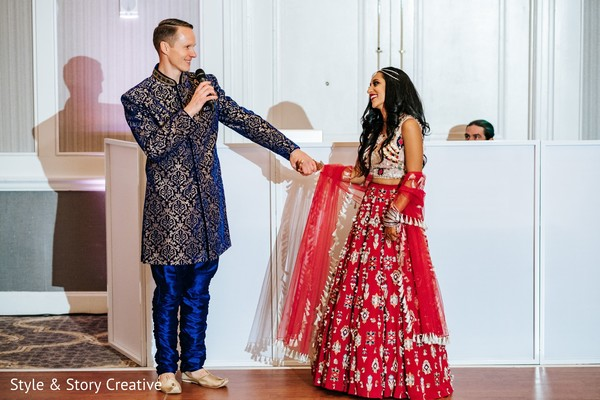 Indian couple at pre-weeding speech.