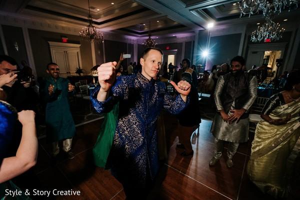 Raja dancing at sangeet party.