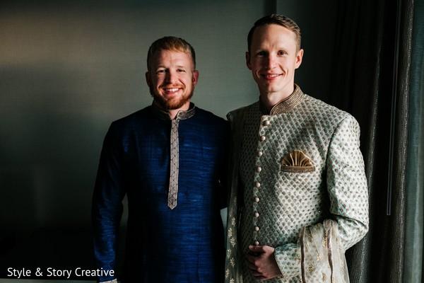 Indian groom with groomsmen getting ready.