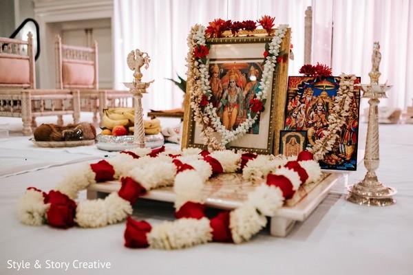 Indina wedding altar decoration with garlands.