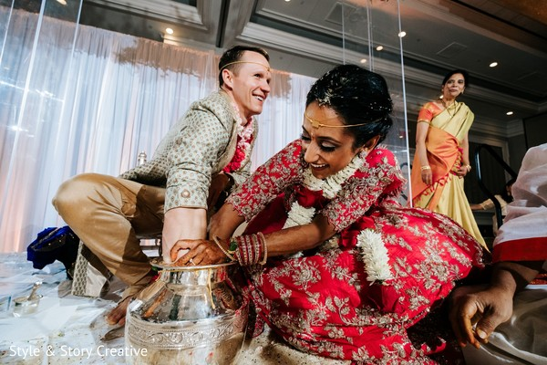 Indian couple during ceremony ending ritual.