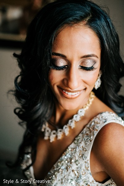 Indian bride with her reception makeup done.