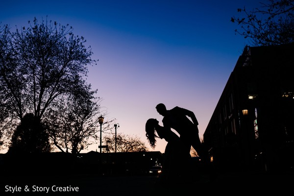 Indian couple silhouette photo.