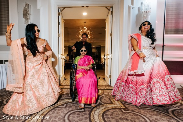 Indian relatives entering the wedding reception.
