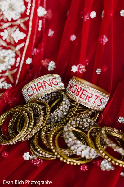 Personalized Indian bridal golden bangles.