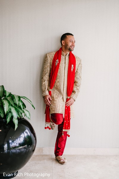 Raja's Indian wedding ceremony outfit.