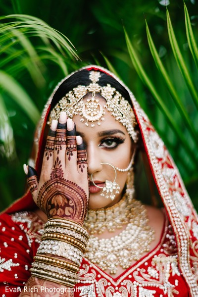Indian bridal henna art and ceremony jewelry.