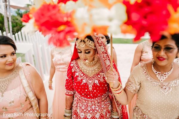Maharani walking to her wedding ceremony.
