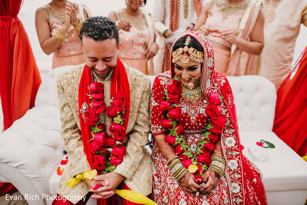 Indian couple during the rice rituals.