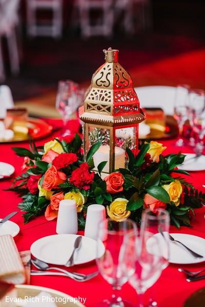 Golden Indian wedding table centerpiece lantern.