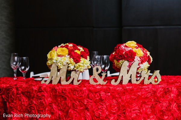 Indian wedding table golden Mr and Mrs letters.