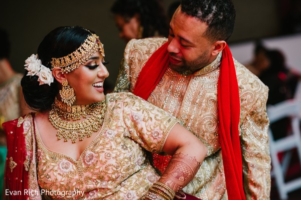 Indian couple at reception dance.
