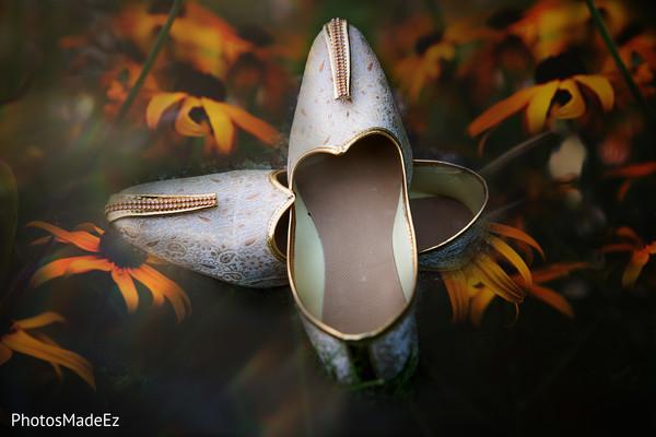 Close capture of elegant wedding shoes
