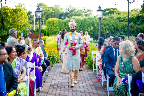 Fabulous shot of Indian groom's entrance to the wedding ceremony