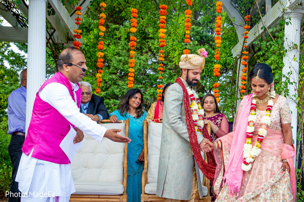 Gorgeous Indian couple at their wedding stage